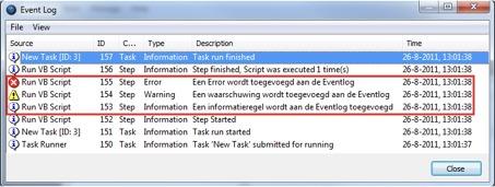 Logging van informatie binnen Orbis TaskCentre 1